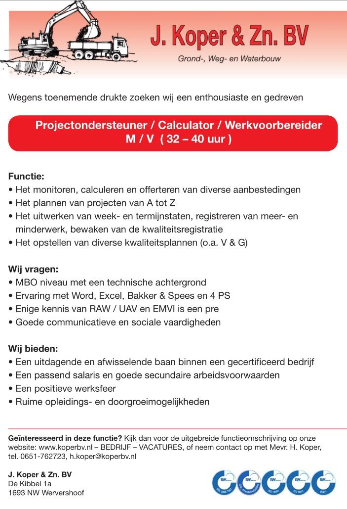 Vacature : Projectondersteuner /  Calculator / Werkvoorbereider m/v  ( 32 – 40 uur )